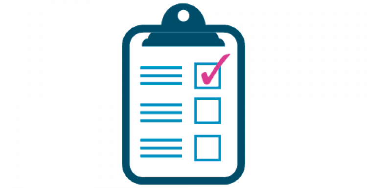 Infographic of a clipboard with a form with a 3 tick boxes with a tick in the top box