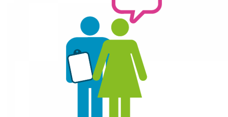 Colourful infographic of 2 figures one with a clipboard