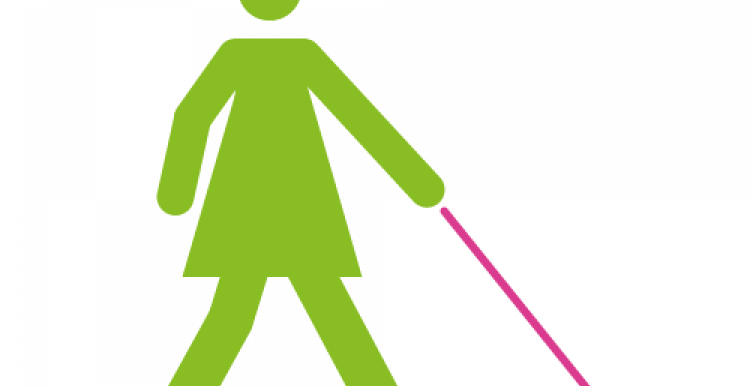 Infographic of a figure with a walking stick or white cane
