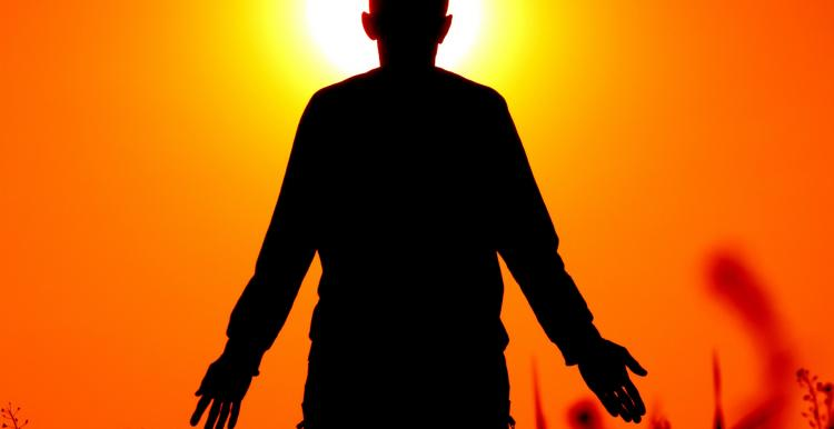 Silhouette against a bright background