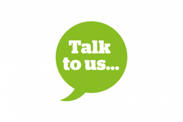 Infographic of a green speech bubble saying 'Talk To us'