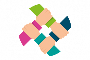 Colourful infographic of a circle of 4 hands holding on to the other.