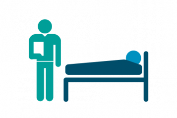 Infographic of a patient in a hospital bed and a consultant standing at the foot of the bed with a clipboard