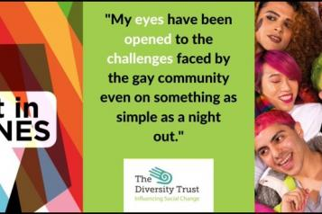 Diversity logo, quote and group of young people
