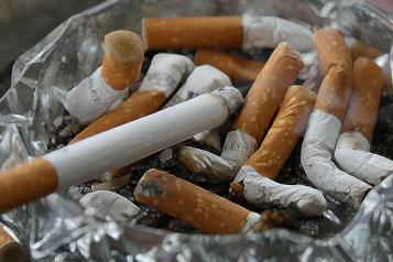 An ashtray full of cigarettes