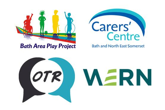 Logos of WERN, OTR BANES, Bath Carers Centre and Bath Area Play Project