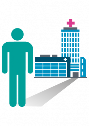 Infographic of a hospital with a figure in the foreground