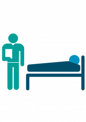 patient in hospital bed with doctor standing next to them