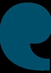 Petrol blue speech mark
