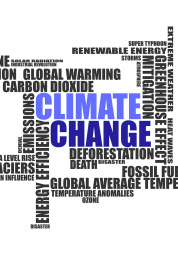 word cloud of different words linked to climate change